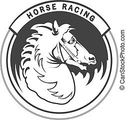 Horse racing - Logo with vintage horses head for horse...