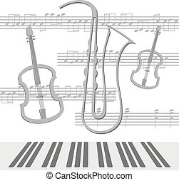 Notes viola - Beautiful background with viola and saxophone...