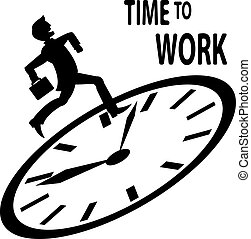 Time to work - Man in suit runs to work on the clock. In the...