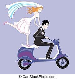 Wedding moto - Happy couple on motorbike. Wedding nice card