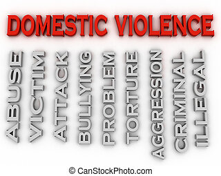 3d image Domestic violence issues concept word cloud...