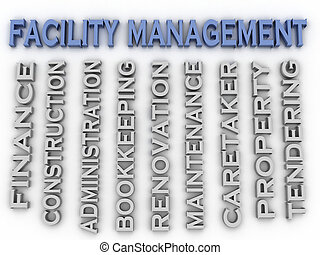 3d image Facility management concept word cloud background