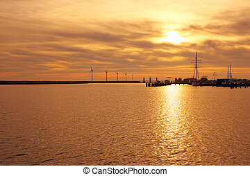 Sunset at the IJsselmeer in the Netherlands