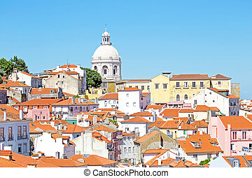 Bird view of central Lisbon with colorful houses and orange...