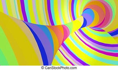 Multicolored motion torus. Loop animation.