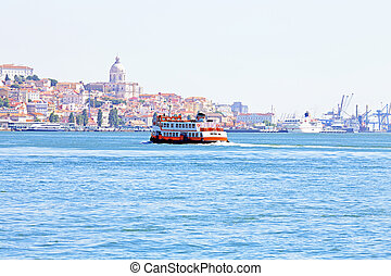 Ferry cruising on the river Tejo near Lisbon Portugal