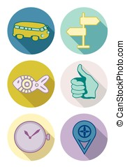 Round icons set in pastel colors