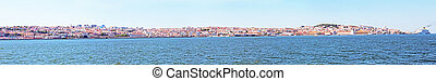 Panorama from the city Lisbon and the river Tejo in Portugal