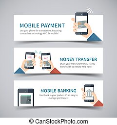 Online banking concept - Vector banners with mobile payment...