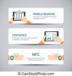 Online banking concept - Vector banners with mobile banking...