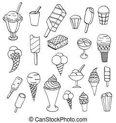 Collection of cute vector hand drawn cartoon ice cream Cones...