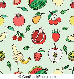 Seamless pattern with set of sweet fruits and berries...