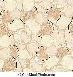 Tree rings saw cut tree trunk background. Seamless...