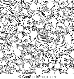 Seamless pattern with set of sweet fruits and berries....