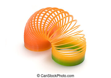 plastic toy - isolated plastic spring toy in white...