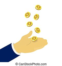 Hand throwing up golden coins, vector concept