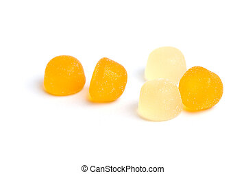 Gummy Candy on White - Fruity gummy candy covered in sugar...
