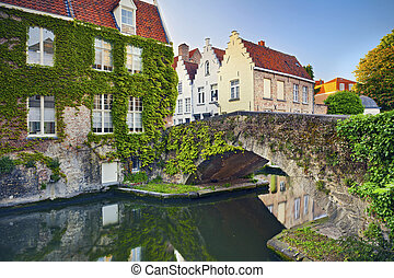 Bruges. - Image of Bruges, Belgium during summer sunset.
