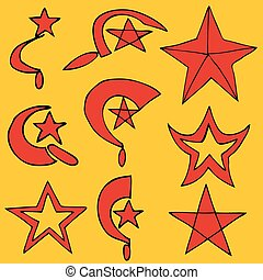 Set communist symbols, vector illustration