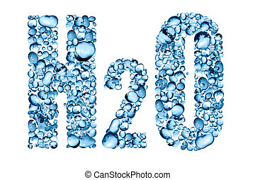 Water Formula H2O - H2O inscription made from lot of blue...