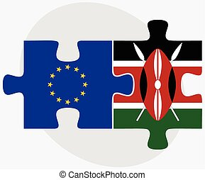 European Union and Kenya Flags in puzzle - Vector Image -...
