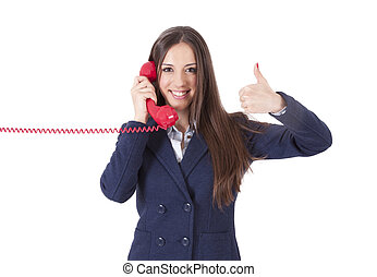 girl with phone and doing ok symbol