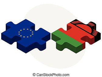 European Union and Malawi Flags in puzzle - Vector Image -...