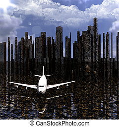 airliner with a city in the background
