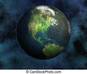 earth in space in 3d