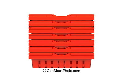 Closeup Of Red Shopping Baskets On White Background