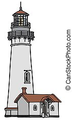Old lighthouse - Hand drawing of an old stone lighthouse