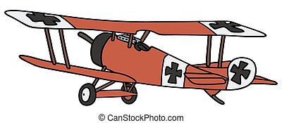 Vintage germany biplane - Hand drawing of a vintage red...
