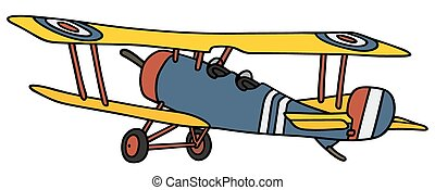 Vintage biplane - Hand drawing of a vintage blue and yellow...