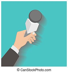 Hand holding a microphone, press conference, vector...