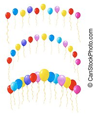 Set of colourful balloons. Isolated on white. Vector illustration