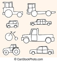 Vector Set of Sketch Transportation Icons