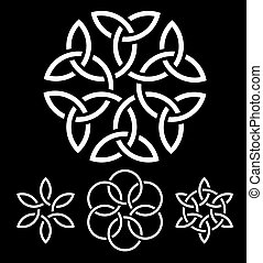 A set of flower-like knots vector illustration for your...