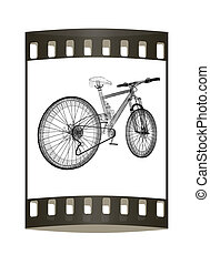 bicycle as a 3d wire frame object isolated The film strip