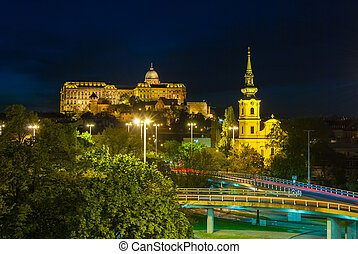 Buda Castle by the Danube river illuminated at night in...