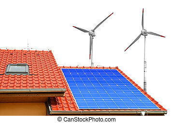 energy concept - Solar panel on the roof of the house and...