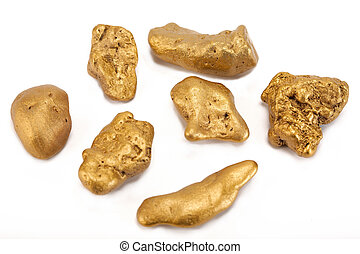 Nuggets of gold on a white background