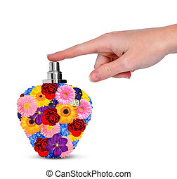 Hand with flower perfume