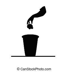 garbage can black vector illustration