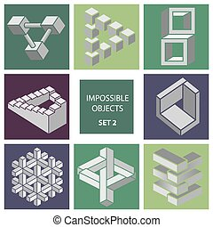 Impossible objects. Set 2. Cartoon vector illustration
