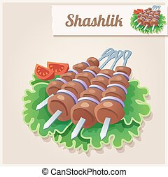 Detailed Icon Shashlik - Detailed Food Icon Shashlik Cartoon...