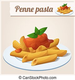 Penne pasta with tomato sauce - Detailed Icon. Penne pasta...