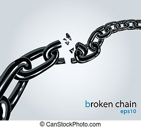 Broken chain - Vector illustration. Symbol of disconnect,...