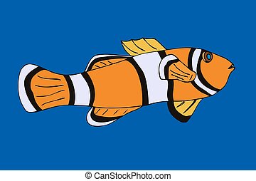 Clownfish. Vector illustration. Isolated on blue