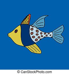 Tropical fish VeIllustration Isolated on blue