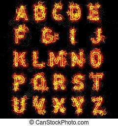 Fire font text all letters of alphabet on black background -...